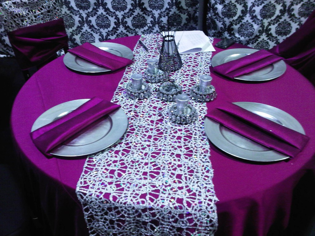 Purple and Silver Table Setting