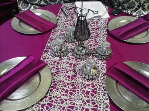 Fuschia and Black Table Setting