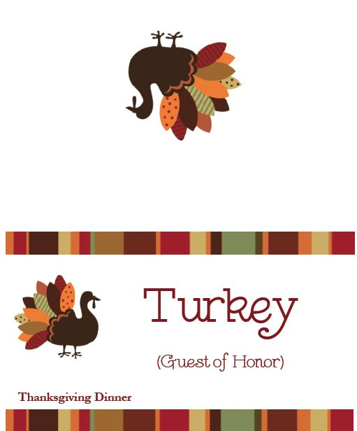 Thanksgiving Templates Free – Placecards, Menus, Labels And More
