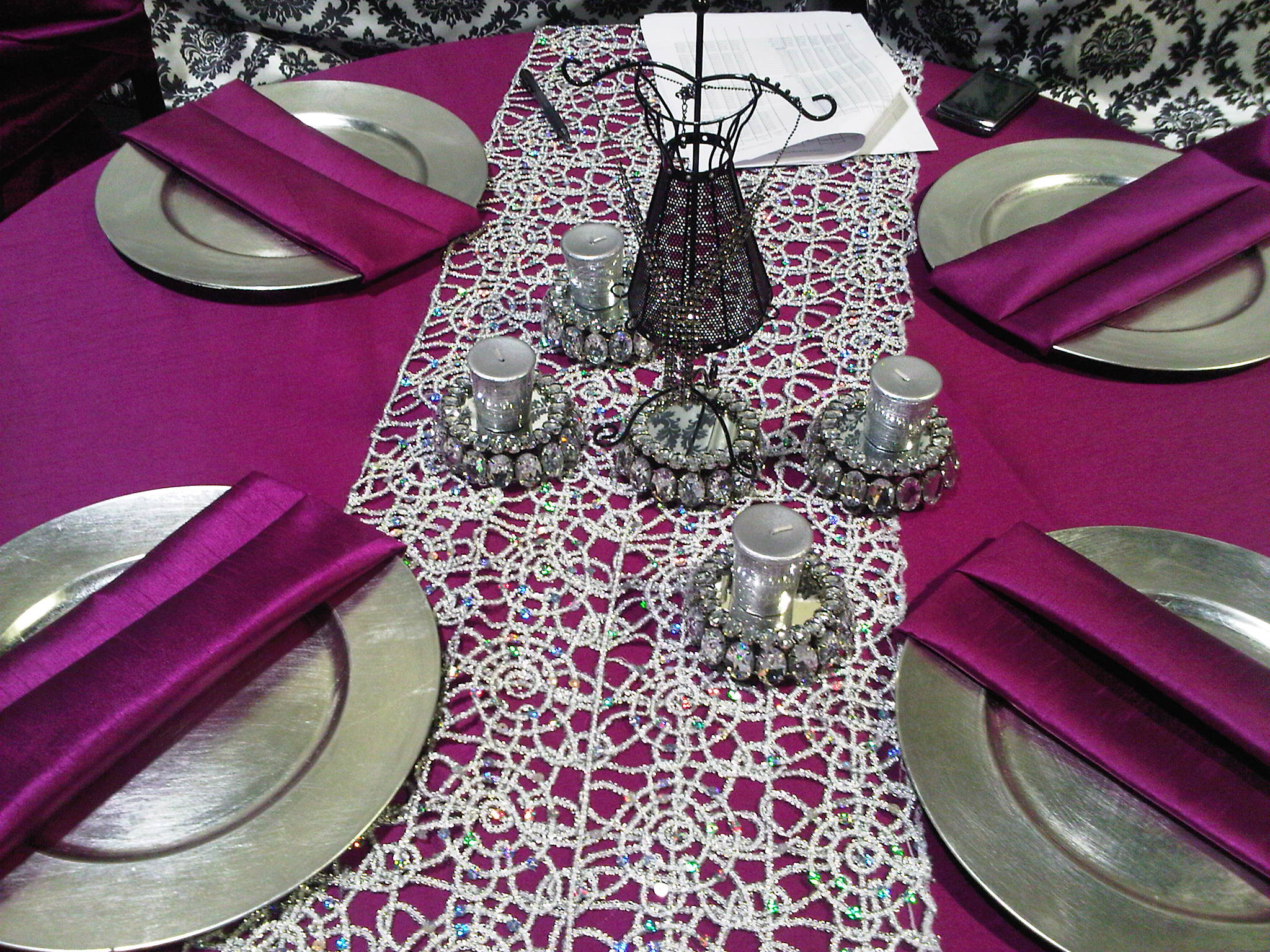 Fuschia and Black Table Setting